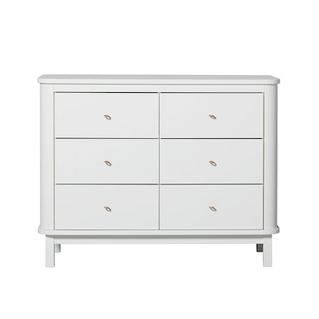 Oliver Furniture Wood byrå - 6 lådor, vit