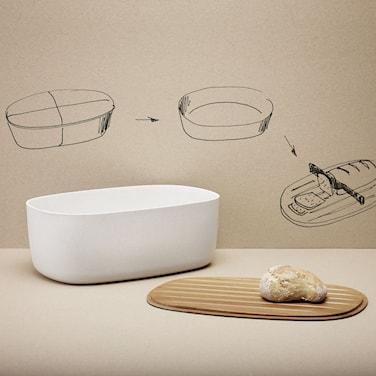 Brödkorg med skärbräda, vit