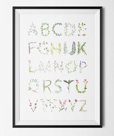 Bilde av Konstgaraget Floral alfabet poster