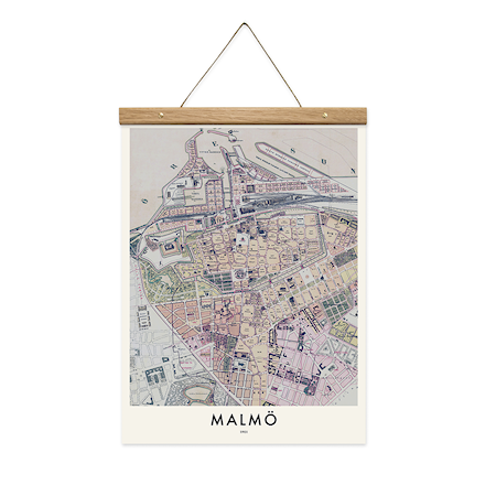 Bilde av Owl streets Malmö map poster