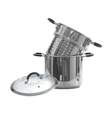 Gryta 6 liter, med pastainsats och silikonklädda handtag.