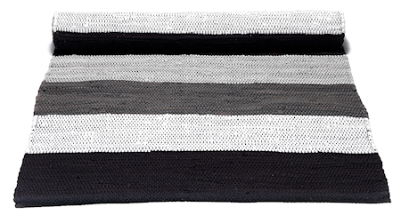 Rug Solid Cotton matta – Black/grey/white striped 170 cm 240 cm