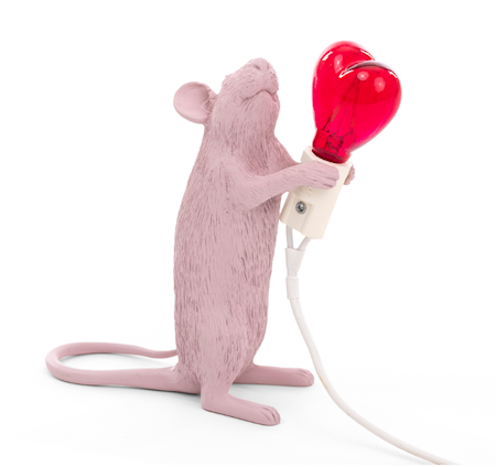 Mouse Lamp Standing Valentine´s day Rosa