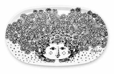 Björn Wiinblad Tarjotin, Felicia, Musta, Ovaali, 32x55 cm