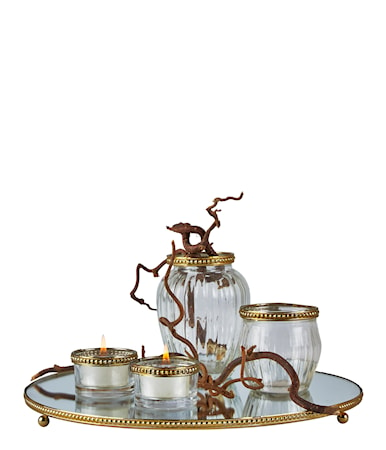 Bilde av KJ Collection Set med Lyslykt vase og Fat Messing