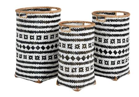 Nordal Baomboo korit Iso Musta/valkoinen - 3 korin setti