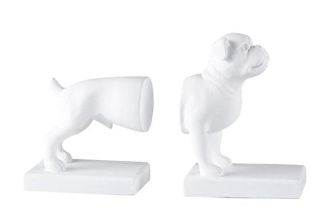 KJ Collection Kirjatuki Koira Valkoinen 18x26 cm