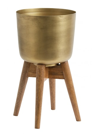Planter on stand, medium, brass/wood