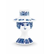Ljusstake, Rosalinde, blå, H 12 cm