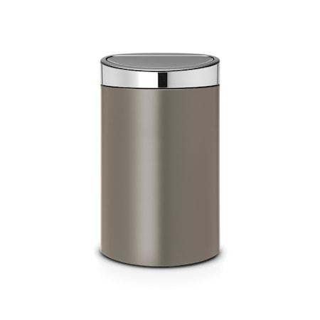 Brabantia Touch Bin mattborstat stållock plastinnerhink 40 L Platinum