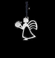 Ängel med present, 6 cm, försilvrad