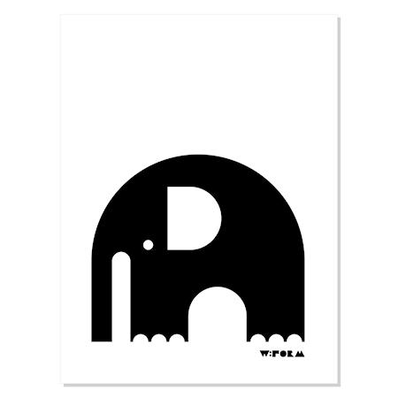 Bilde av w:form Elephant poster – Svart/hvit