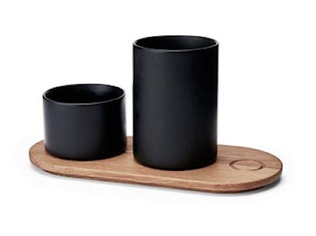 Træbakke m. 2 krukker Kit sort