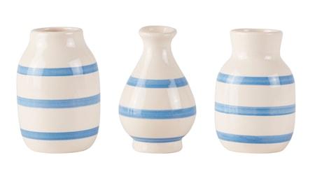 KJ Collection Vase - m. striber - Usorteret - Dolomite - Ocean blå - Creme - D 7,0cm - H 10,0cm - Stk. thumbnail