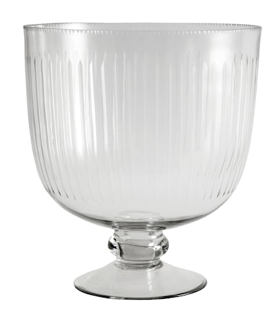 Glass bowl on base, stripes, large