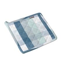 Grytlapp rutig provenceblå/pärlblå/pärlgrön