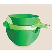 Mixskål & Durkslag set grön