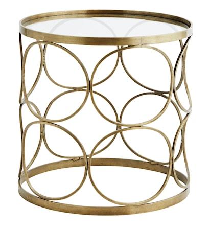 Bilde av Clear glass brass sofabord