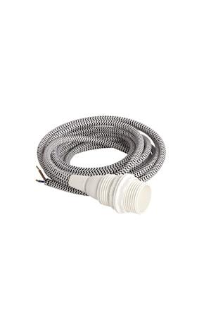 Kabel med sockel E14 3m Svart/vit