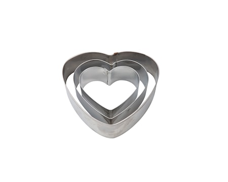 Kakmåttset 3st Stål, Hjärta