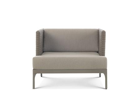 Ethimo Infinity lounge fåtölj - Grå fåtölj/grå dynor