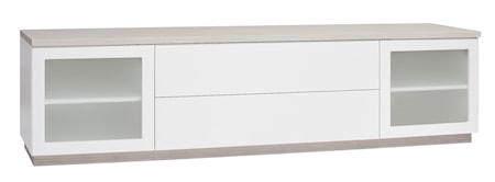 Hiipakka Sonaatti tv-bänk - 200 cm Sonaatti tv-bänk - 200 cm - frostat glas - vit/ask