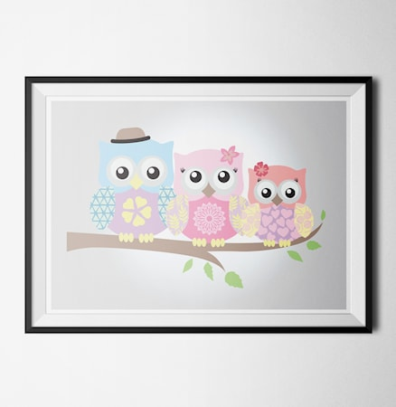 Bilde av Konstgaraget Happy owls 2 poster