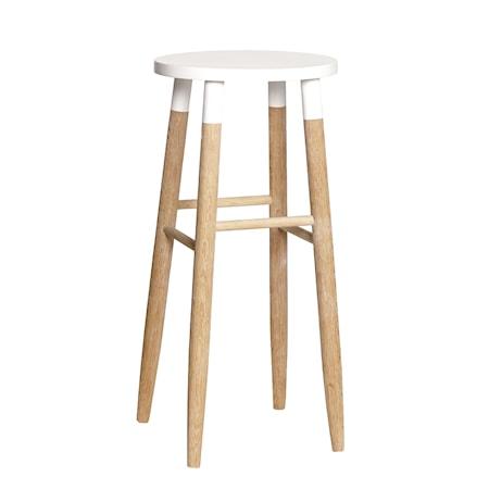 Hübsch High leg barstol - vit/natur