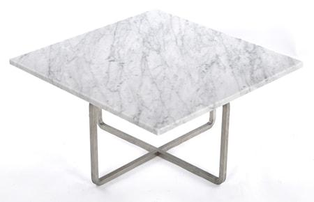 OX DENMARQ Ninety 60x60 soffbord - Carrara/stomme rostfritt stål