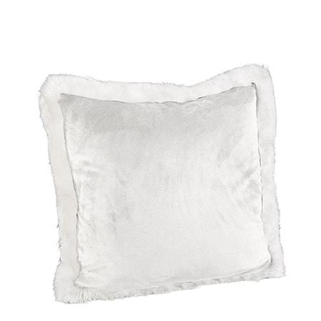 Leia White Velboa Kuddfodral 50x50