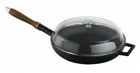 Lava FRYING PAN Ø28 C/W WOODEN HANDLES - GLASS LID BLACK