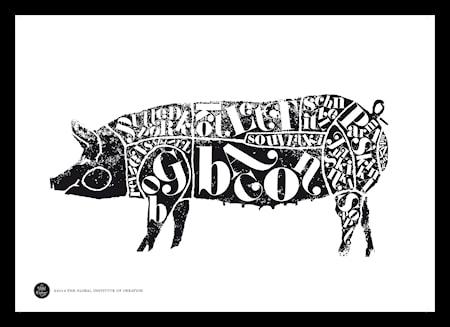 Bilde av TGIOC Pig black poster