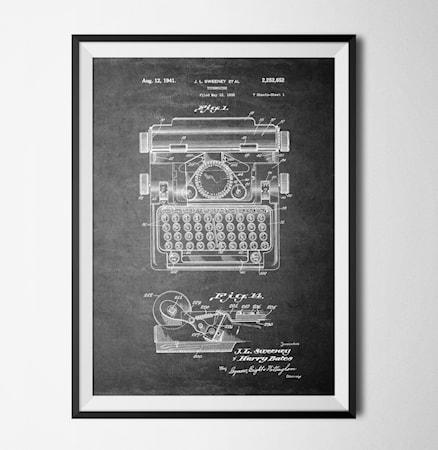 Bilde av Konstgaraget Patent typewriter black poster