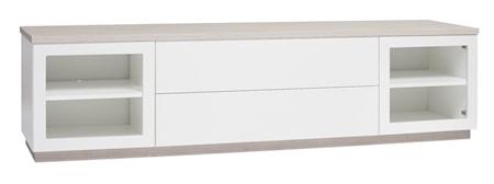 Hiipakka Sonaatti tv-bänk - 200 cm - klarglas - vit/ask