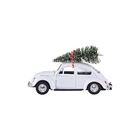 Juldekoration, MINI Xmas car, vit, L: 8,5 cm