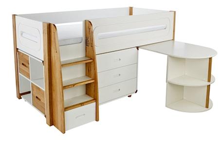 Curve Loftsäng med utdragbart skrivbord och byrå - Ek