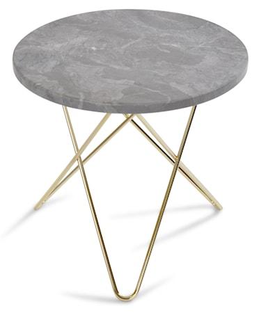 OX DENMARQ Mini O table sidobord - grå marmor/mässingstomme