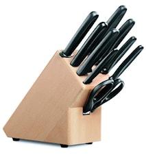 Knivblock, tomt, trä svart handtag för 9 delar