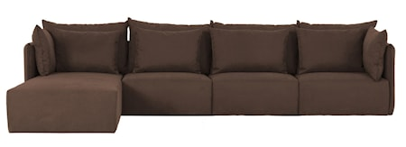 Temahome Dune 3-sits soffa med chaise longue - brun