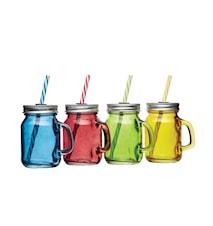 Glasbägare med sugrör 4-pack 100 ml