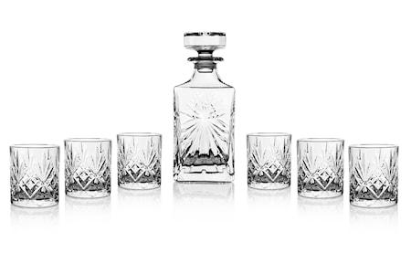 Lyngby Glas Melodi Whiskysetti laseilla ja karahvilla 7 osaa