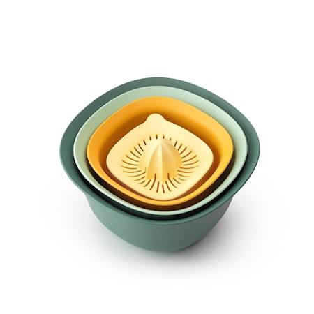 Tasty Set om 4 Måttkopp/Juicepress Skål 1,5 L Durkslag Skål 3,2 L