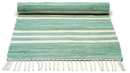 Cotton matta - Pale green/offwhite striped