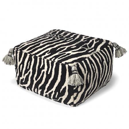 Sittpuff Zebra Svart/Vit 55x55 cm
