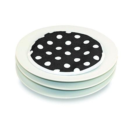 HotIdeas Tallriksvärmare för mikrovågsugn 4-pack Svart med vita prickar