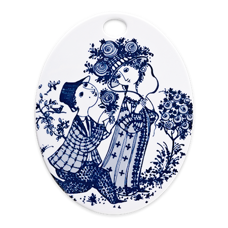 Björn Wiinblad Ovaali levy 15 x 19 cm, Roses sininen