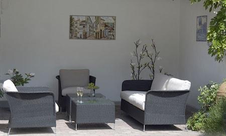 Sika Design Orion loungegrupp - 5-delsset, svart, exklusive dynor
