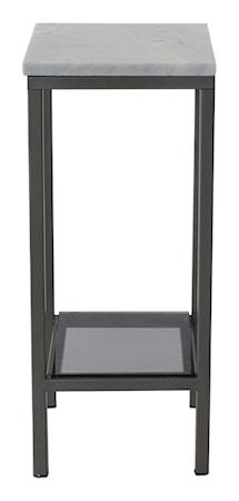 RGE Ascot piedestal lågt sidobord ? Ljus marmor, grå lack