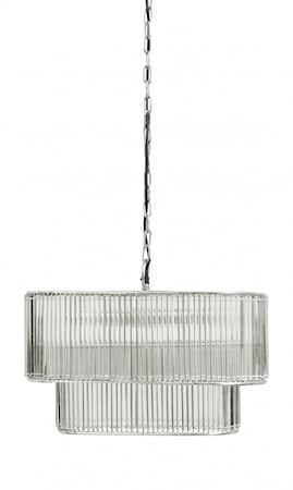 GLAMOUR Taklampa Oval Glas Silver