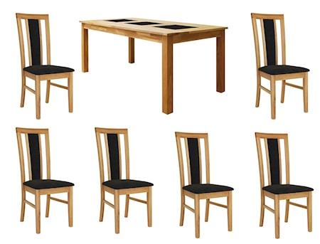 New Line Jasmine Matgrupp Ek inkl. 6 stolar - Ek, klädsel konstskinn